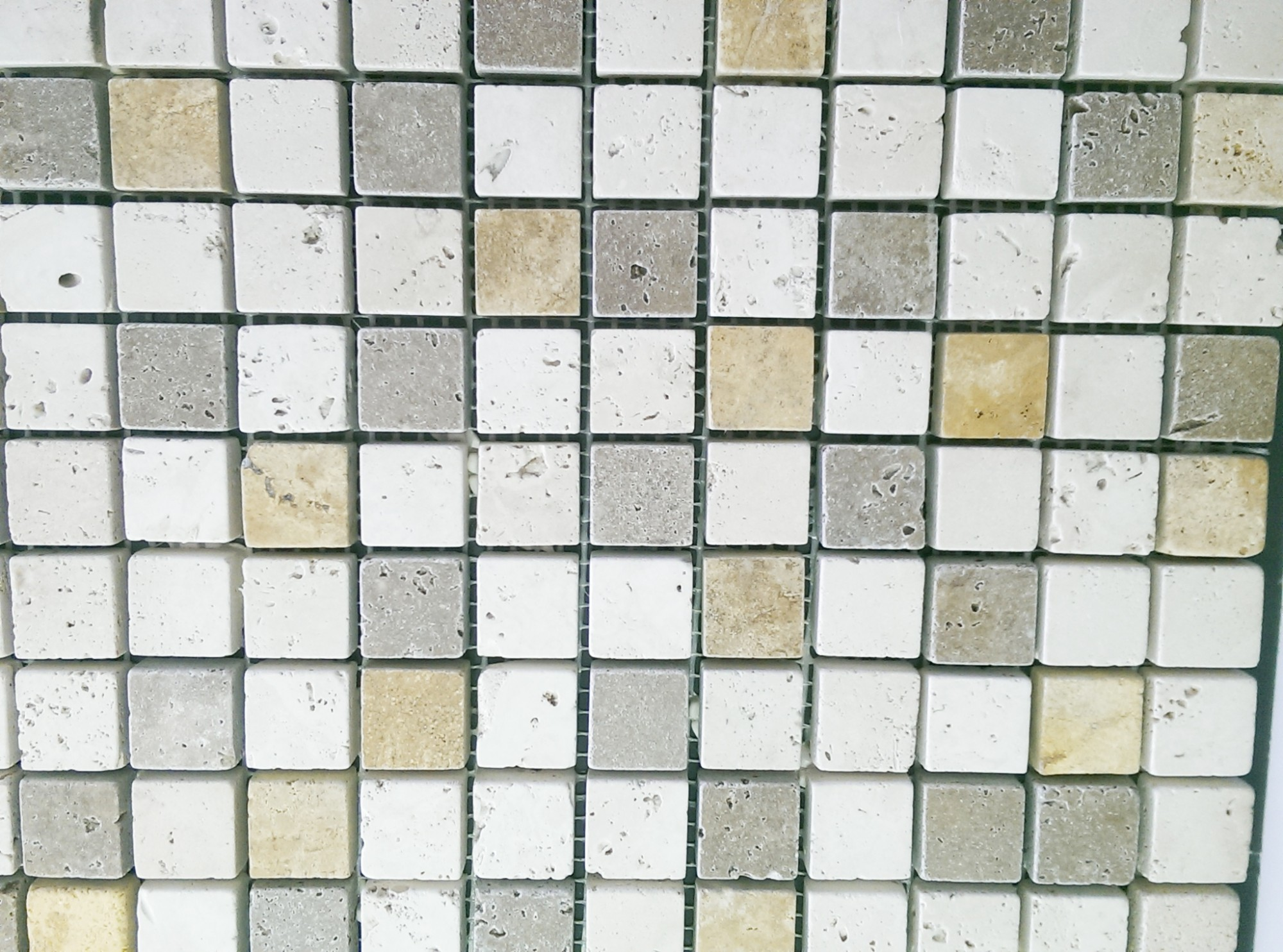 mosaique en pierre 5x5mix travertin beige et brun